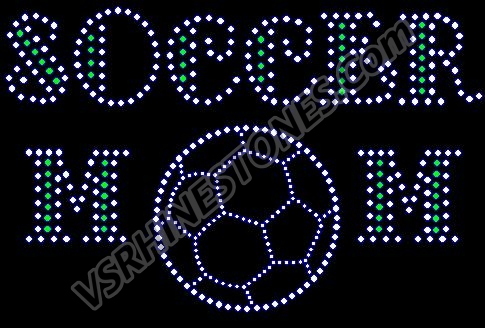 Soccer Mom - ball font Rhinestone Transfer