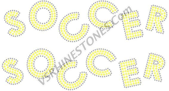 SOCCER Sequin Word (2 per order) Gold