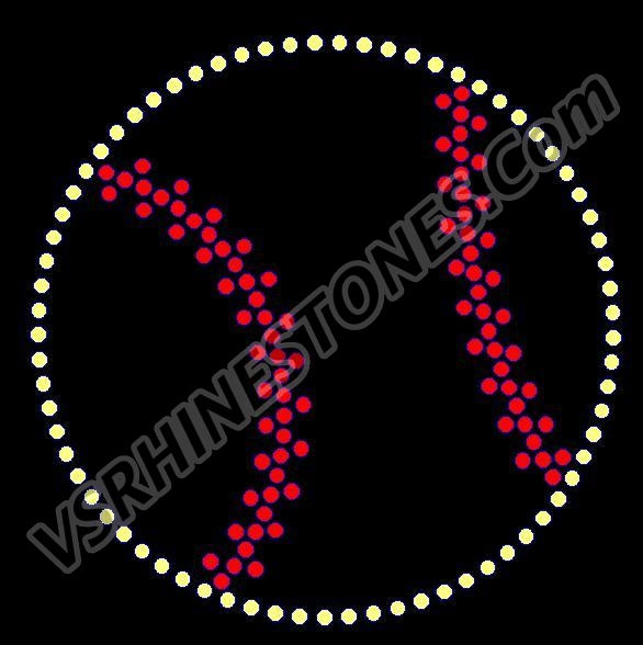 Softball Outline Rhinestone Transfer NEW