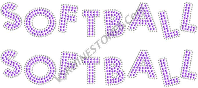 SOFTBALL Sequin Word (2 per order) Purple