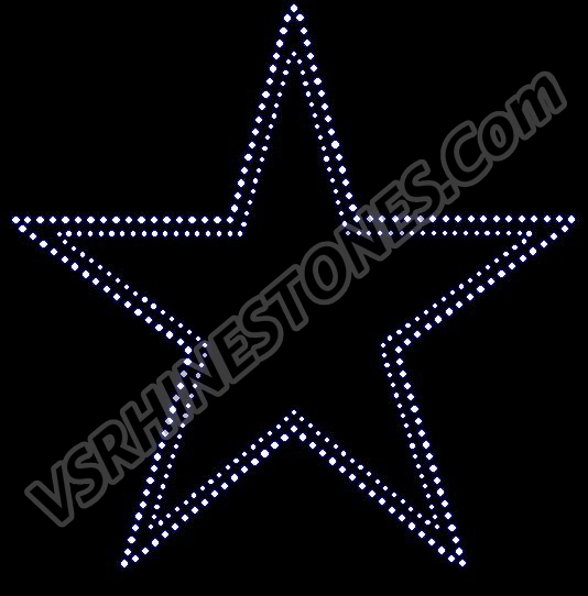Star - double row 10 inch Rhinestone Transfer