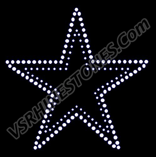 Star - double row 4 inch - Set of 2 Rhinestone Transfer