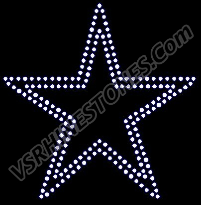 Star - double row 4.5 inch - Set of 2 Rhinestone Transfer