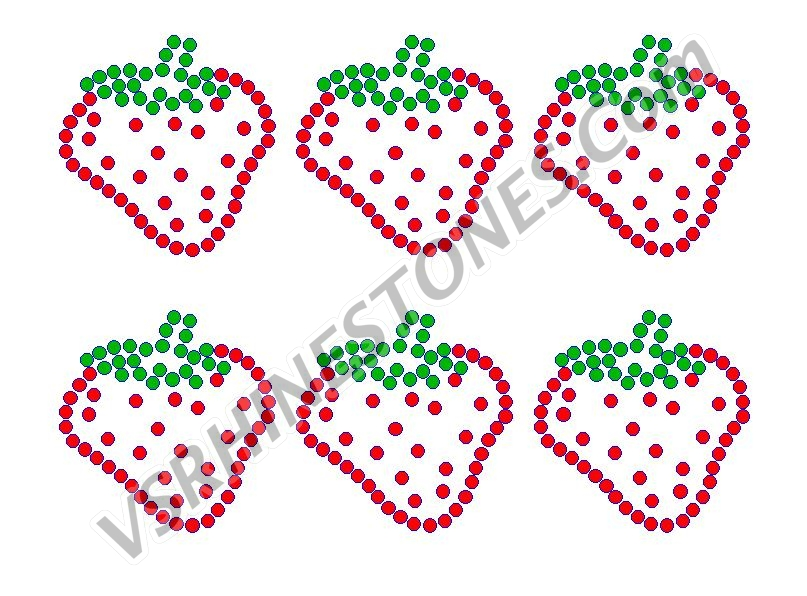 Strawberry Mini Rhinestone Transfers (6)