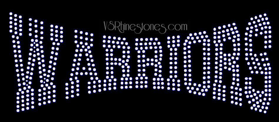 Warriors Arched Rhinestone Transfer