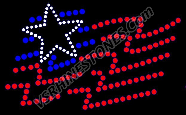 Waving Flag Rhinestone Transfer