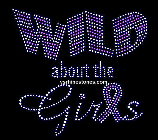 Wild about the Girls Ribbon Rhinestone Transfer