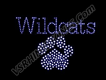 Wildcats Paw Small Rhinestone Transfer