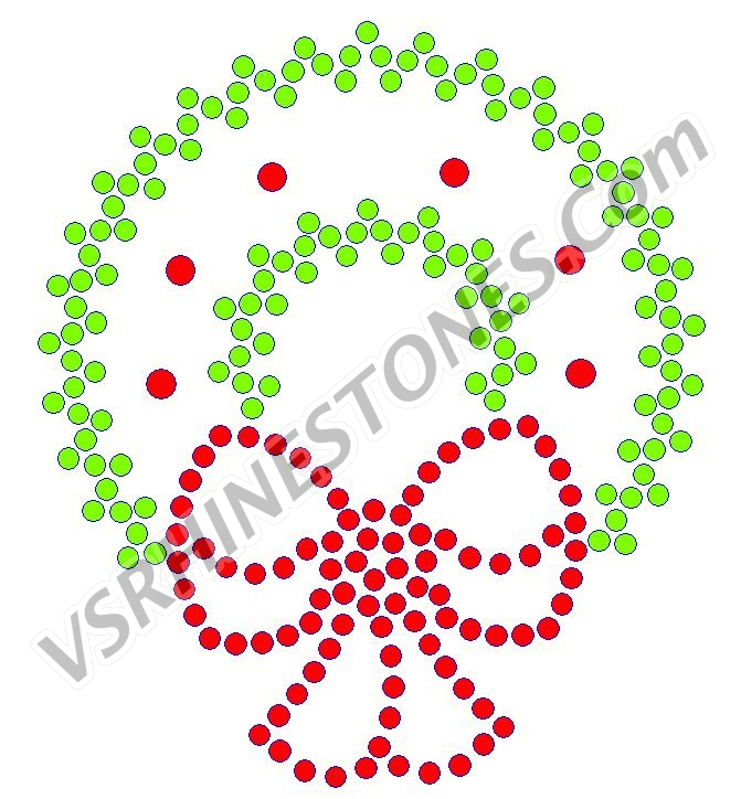 Christmas Wreath Rhinestone Transfer